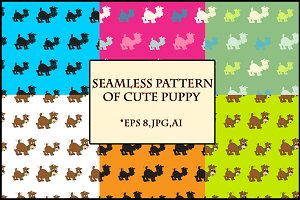 Seamless pattern of cute puppy