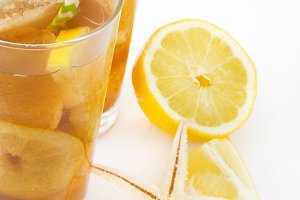 Ice tea with lemon. Isolated photo