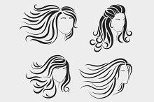 Female head silhouettes