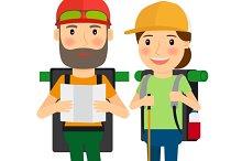 Hiking couple vector illustration