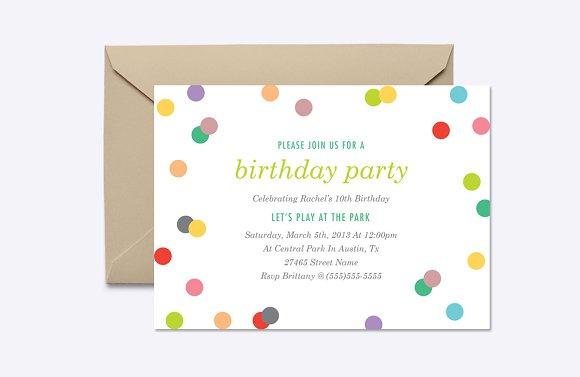 rainbow confetti invite template invitation templates creative