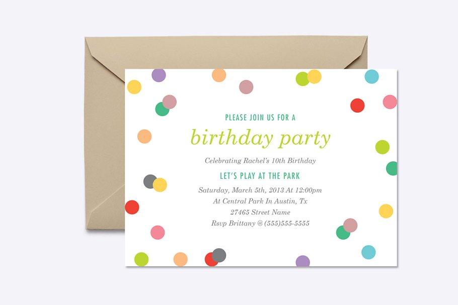 Rainbow Confetti Invite Template Invitation Templates Creative