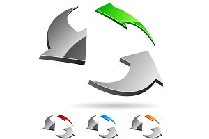 Bright high-quality 3d arrows logo