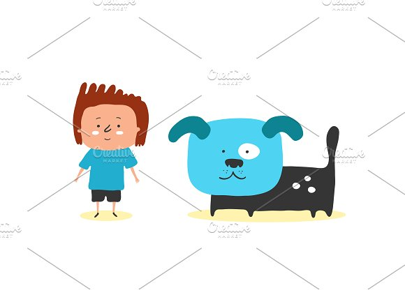 Boy and dog  in Illustrations