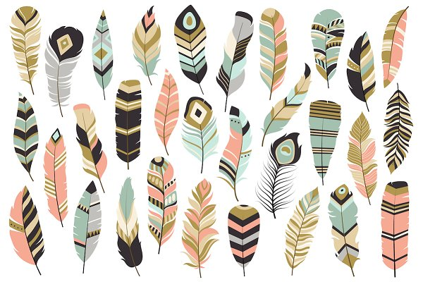 31 Tribal Feathers Vector & PNG