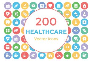 200 Healthcare Vector Icons