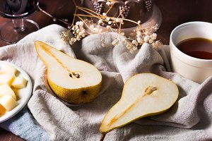 Pears, wine and cheese