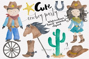 Cowboy Kids Watercolor clipart