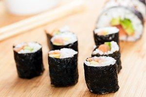 Sushi rolls close-up.