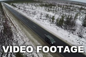 Aerial view of minivan driving