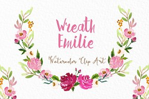 Wreath Emilie. Watercolor clipart