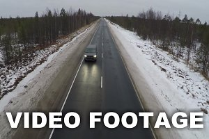 Driving Along A Winter Road