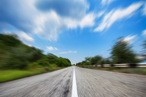 Mountain road in motion blur effect
