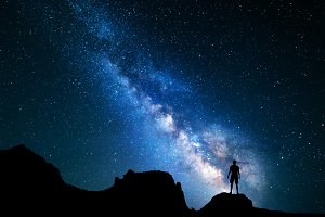 Milky Way with solhouette of a man