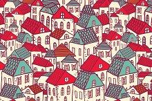 Vector city seamless pattern.
