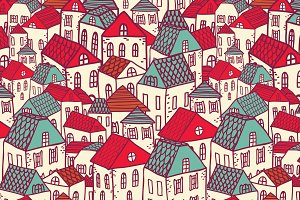 Vector city seamless pattern.