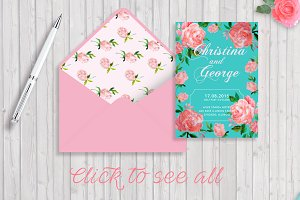 Wedding Invitation Suit Mint color