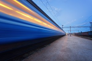 high speed passenger train in motion