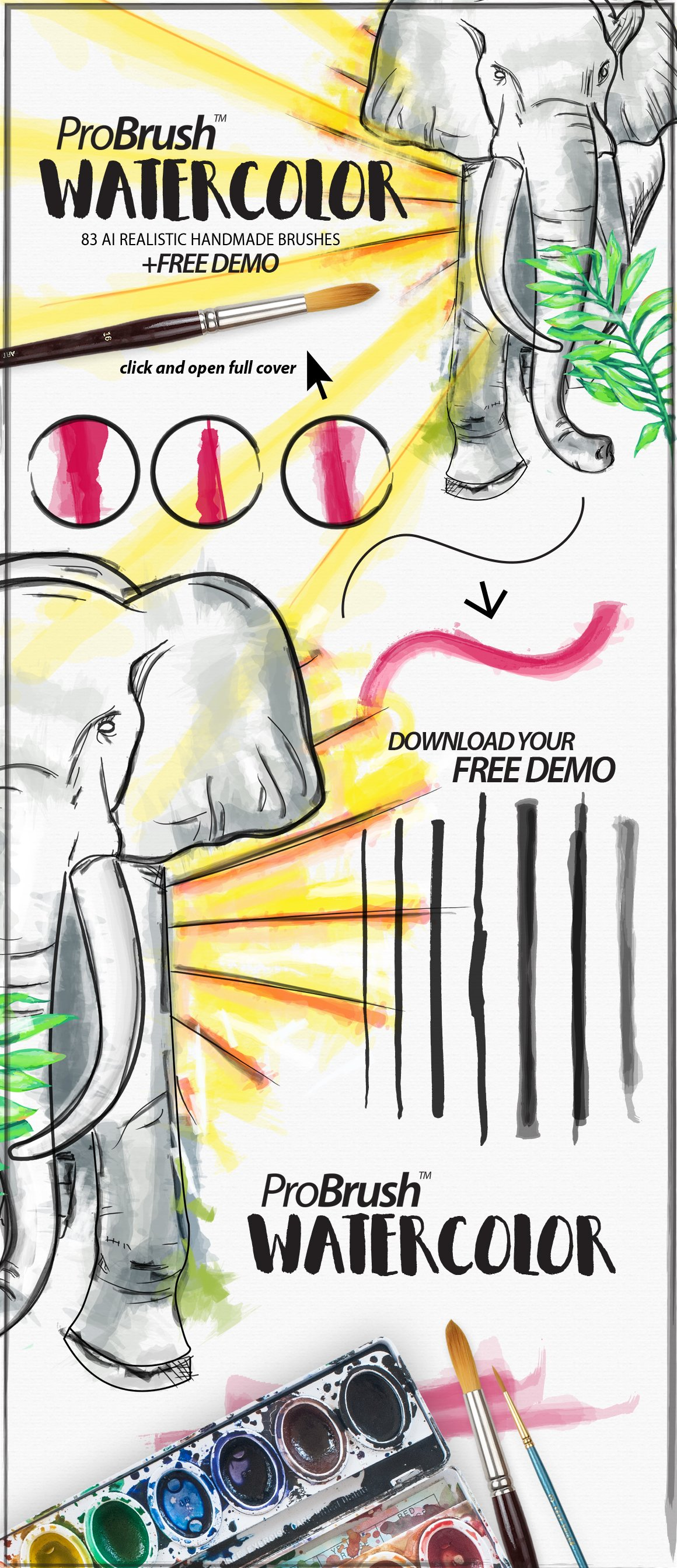 Book Cover Watercolor Brush : Watercolor probrush™ free demo brushes creative market