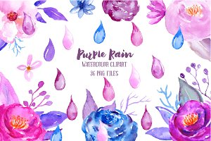 Watercolor Clipart Purple Rain