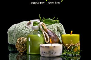 Spa concept with rosemary in black
