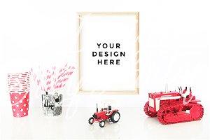 Bulldozer Tractor Poster Mockup