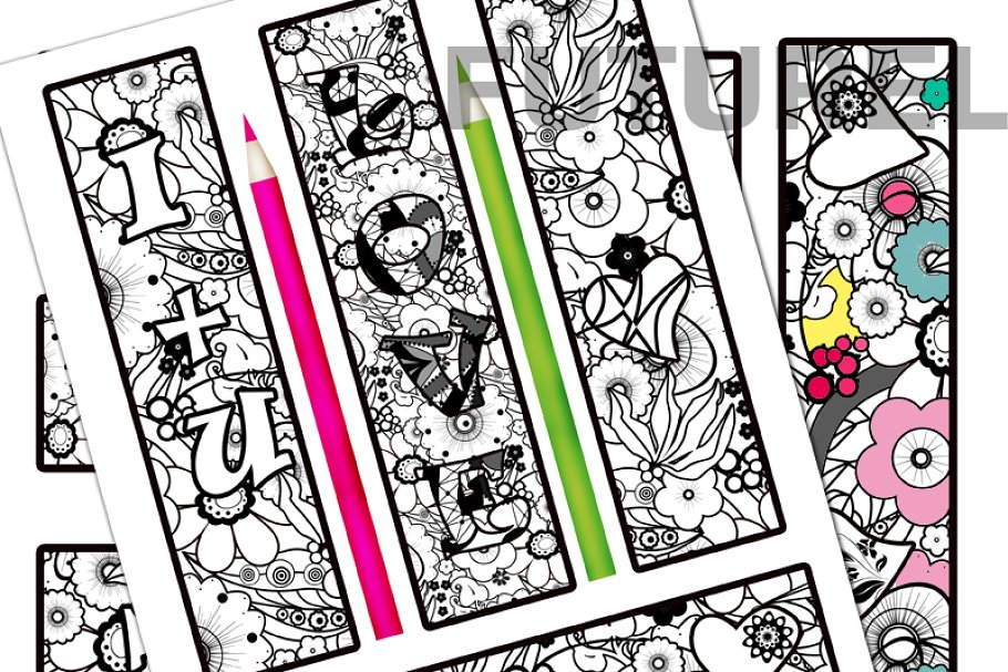 Coloring bookmarks 1 ~ Graphic Objects ~ Creative Market