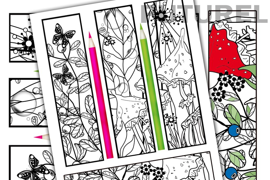 Download coloring bookmarks 2 ~ Illustrations ~ Creative Market
