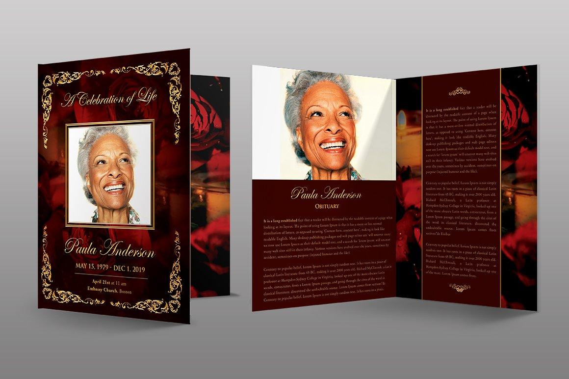 Gold Royal Rose Funeral Program Brochure Templates