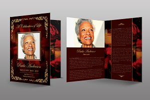 Gold Royal Rose Funeral Program