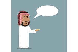 Happy cartoon arabian businessman