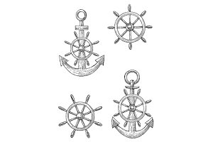 Marine vintage anchors and helm