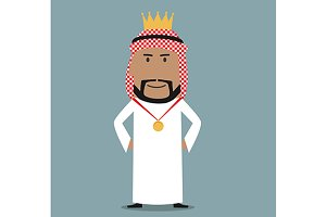 Arab businessman in golden crown