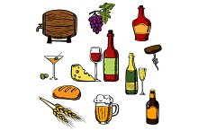 Alcohol drinks, beverages and food