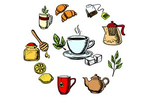 Herbal tea, sweets and dishware