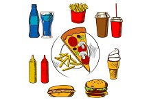 Pizza and fast food snacks