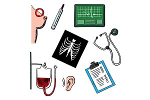Diagnostics and medical test icons