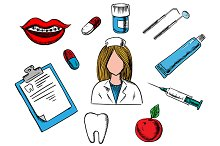 Dental medicine and dentistry icons