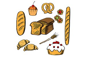 Bakery, cakes and pastry objects