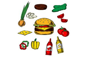 Tasty cheeseburger and ingredients