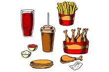 Fast food snacks and drinks set