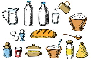 Bakery, cheese and dough ingredients