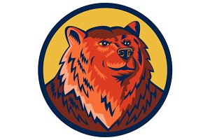 Russian Bear Head Circle Retro