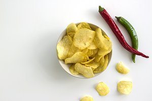 Potato chips and spicy peppers