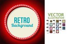 11 Retro Frame Circle with neon Ligh