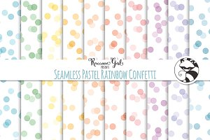 Seamless Pastel Rainbow Confetti