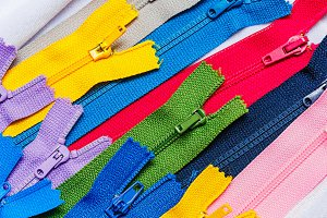 Multi-colored zipper. Needlework.
