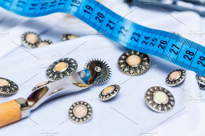 Buttons, measuring tape. Needlework. - Beauty & Fashion