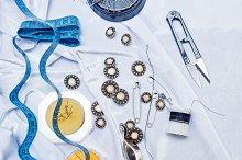 Buttons, pins, needles, scissors.