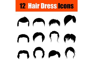 Set of man's hairstyles icons